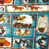 Native American Eagle Wolf Horse Anti Pill Animal Theme Fleece Fabric