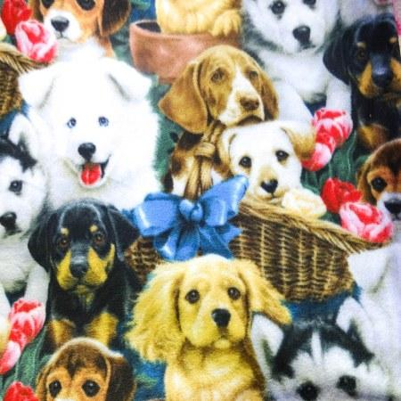 Puppy Pals Anti Pill Animal Theme Fleece Fabric, 60 Inches Wide By Jenny Newland