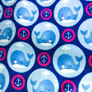 Whale and Anchors in Circles Anti Pill Fleece Fabric