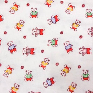 Red Bears Flannel Cotton Fabric