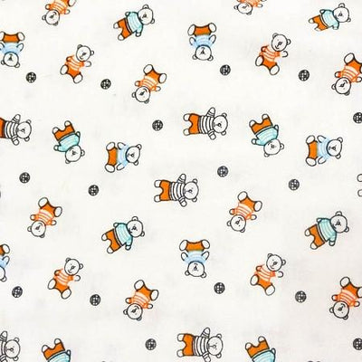 Orange Bears Flannel Cotton Fabric