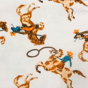 Golden Horses Flannel Cotton Fabric