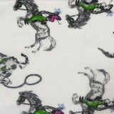 Silver Horses Flannel Cotton Fabric