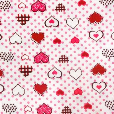 Red Heart Dots Flannel Cotton Fabric