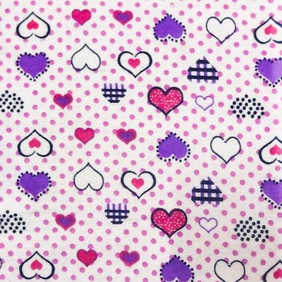 Pink Purple Heart Dots Flannel Cotton Fabric