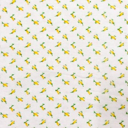 Yellow Tulip Flower Flannel Cotton Fabric