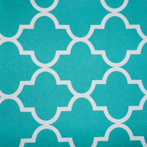 Aqua White Moroccan Canvas Waterproof Outdoor Fabric