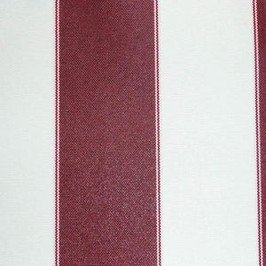 Burgundy Ivory Stripe Canvas Waterproof Outdoor Fabric