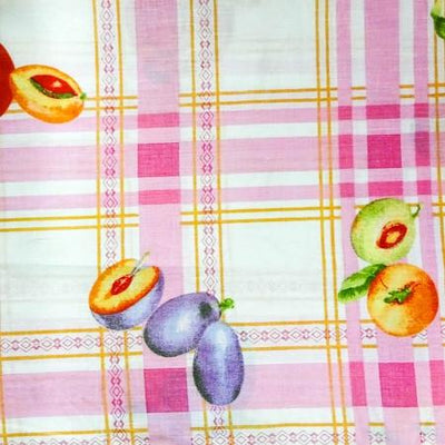 Fruits on Pink Checkered Poly Cotton Fabric