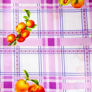 Fruits on Purple Checkered Poly Cotton Fabric