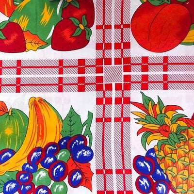 Red Panel of fruits on White Poly Cotton Fabric