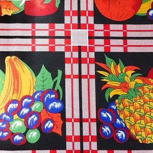 Red Panel of fruits on Black Poly Cotton Fabric