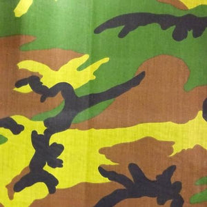 Bright Green Camo Poly Cotton Fabric