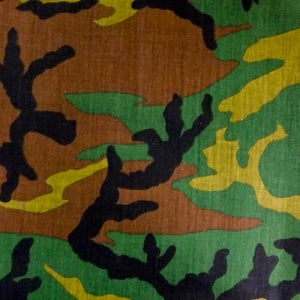 Dark Green Camo Poly Cotton Fabric