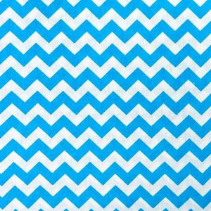 Half Inch Chevron Turquoise and White Poly Cotton Fabric