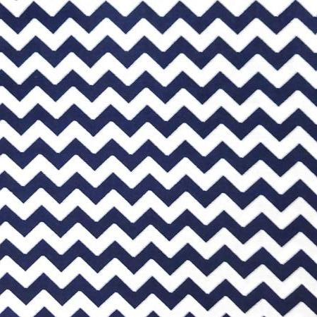 Half Inch Chevron Navy and White Poly Cotton Fabric