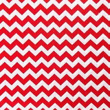 Half Inch Chevron Red and White Poly Cotton Fabric