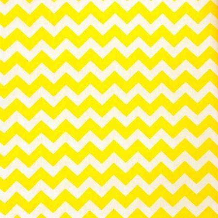 Half Inch Chevron Yellow and White Poly Cotton Fabric