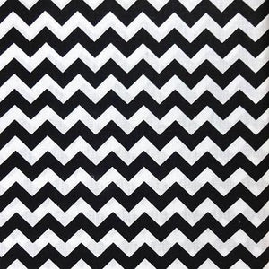 Half Inch Chevron Black and White Poly Cotton Fabric