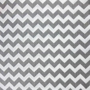 Half Inch Chevron Gray and White Poly Cotton Fabric