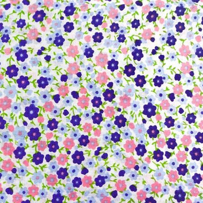 Purple Pink Flowers Poly Cotton Fabric