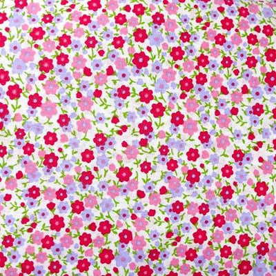 Pink Packed Flowers Poly Cotton Fabric