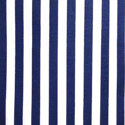 Half Inch White and Navy Stripes Poly Cotton Fabric
