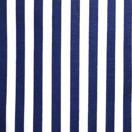"1"" One Inch Navy Blue and White Stripes Poly Cotton Fabric"