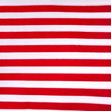 Half Inch White and Red Stripes Poly Cotton Fabric