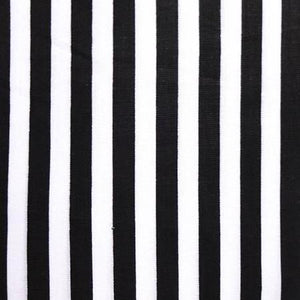 Half Inch White and Black Stripes Poly Cotton Fabric