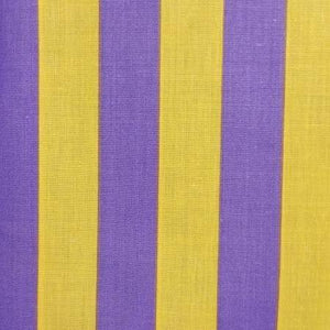 One Inch Purple and Yellow Stripes Poly Cotton Fabric