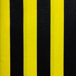 One Inch Black and Yellow Stripes Poly Cotton Fabric
