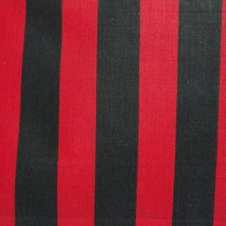 One Inch Red and Black Stripes Poly Cotton Fabric