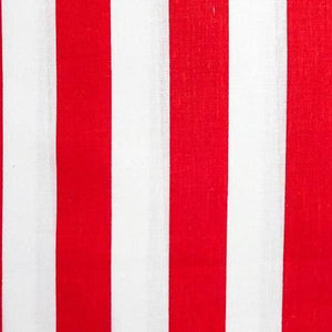 One Inch Red and White Stripes Poly Cotton Fabric