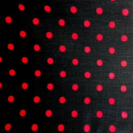 Small White Red on Black Dots Poly Cotton Fabric