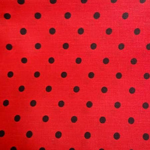 Small Black on Red Dots Poly Cotton Fabric