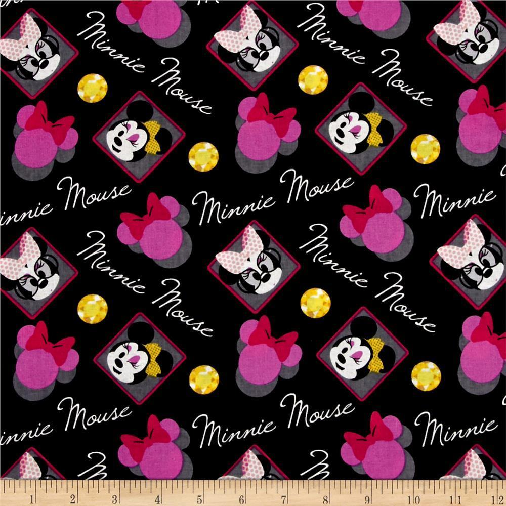 Disney Minnie Mouse World Badge Black 100% Cotton Fabric