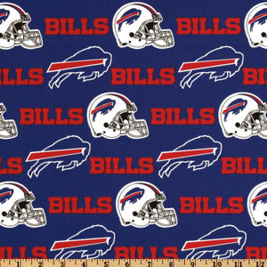 NFL Broadcloth Buffalo Bills Red/Royal 100% Cotton Print Fabric