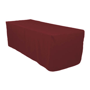6 Ft Burgundy Fitted Polyester Rectangular Tablecloth