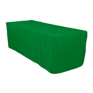 6 Ft Kelly Green Fitted Polyester Rectangular Tablecloth