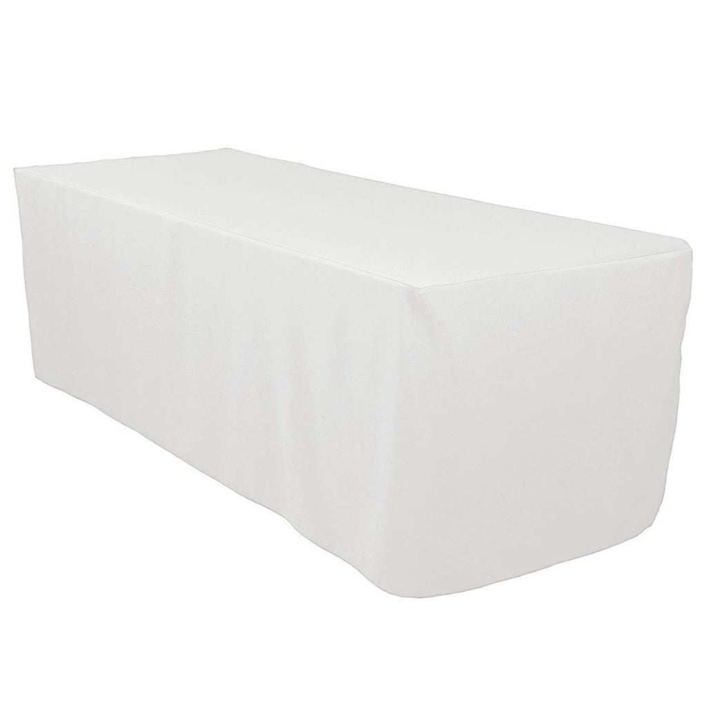 6 Ft White Fitted Polyester Rectangular Tablecloth