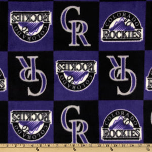 MLB Colorado Rockies Squares Purple/Black Fleece Fabric
