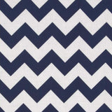 "1"" Navy and White Chevron Poly Cotton Fabric"