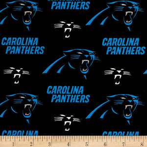 NFL Broadcloth Carolina Panthers Black 100% Cotton Print Fabric