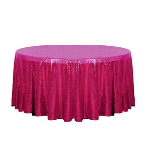 "132"" Fuchsia Glitz Sequin Round Tablecloth"