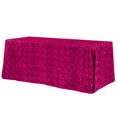 Fuchsia Rosette 3D Satin Rectangular Tablecloth 90