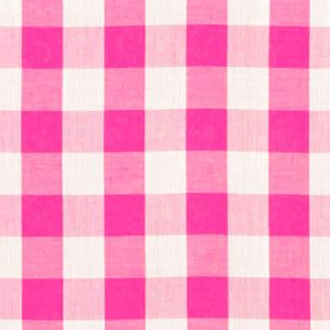 "Fuschia Checkered Gingham 1"" Poly Cotton Fabric"
