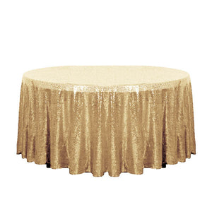 "132"" Gold Glitz Sequin Round Tablecloth"