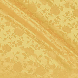 Gold Satin Jacquard Roses Fabric