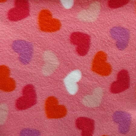Hearts on Pink Anti Pill Fleece Fabric